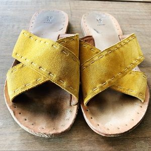 Yellow Suede Frye Sandals